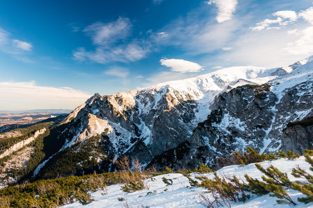 giewont: Mountains inspirational beautiful landscape in winter day, Tatra Mountains.