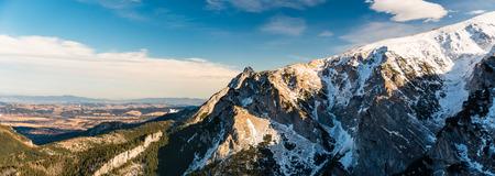 giewont: Mountains panorama, inspirational beautiful landscape in winter day, Tatra Mountains. Stock Photo