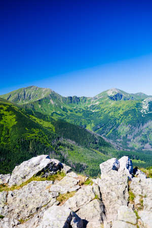 giewont: Inspiring Mountains Landscape View, sunny day in summer Tatras, mountain ridge over blue sunny sky, Poland in Europe