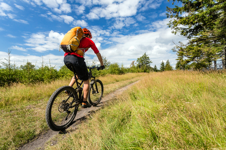 Mountain biker riding on bike in summer inspirational mountains landscape. Man cycling MTB on enduro trail path. Sport fitness motivation and inspiration. Rider mountain biking in summer woods. Stockfoto