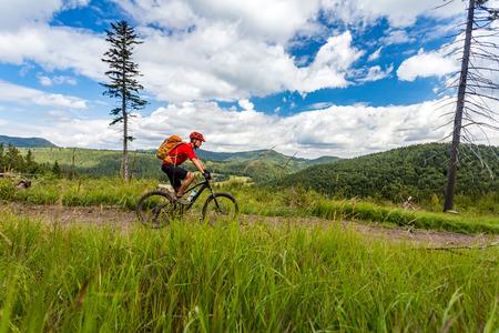enduro: Mountain biker riding on bike in summer inspirational mountains landscape. Man cycling MTB on enduro trail path. Sport fitness motivation and inspiration. Rider mountain biking in summer woods. Stock Photo