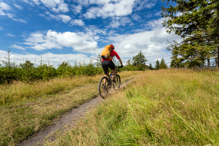 Mountain biker riding on bike in summer inspirational mountains landscape. Man cycling MTB on enduro trail path. Sport fitness motivation and inspiration. Rider mountain biking in summer woods. Stock Photo