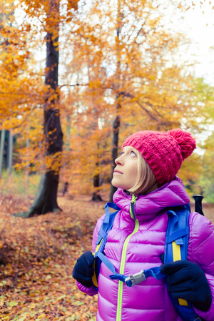 healthy looking: Hiking woman with backpack looking up at inspirational autumn golden trees.Fitness travel and healthy lifestyle outdoors in fall season nature. Female backpacker tourist walking in forest.