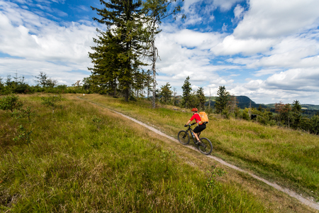 mtb: Mountain biking man riding on bike in summer inspiring mountains landscape. Rider cycling MTB on enduro trail path. Sport fitness motivation and inspiration in summer woods.