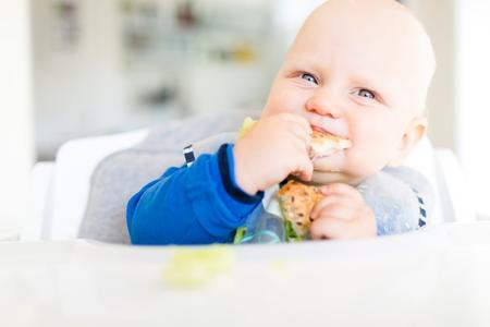 BLW によるパンとキュウリを食べる男の子、赤ん坊の led 離乳。昼食を食べて幸せなベジタリアンの子供。幼児は、自己給電、自身食べる。 写真素材