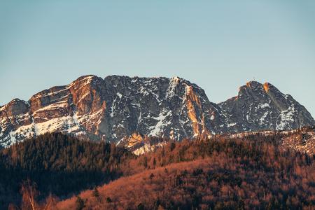 Inspiring Mountains Landscape, beautiful day in summer Tatras, Giewont mountain ridge over blue sky in Zakopane, Poland