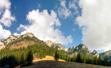 Inspiring Mountains Landscape Big Panorama in summer Tatras, beautiful day with mountain ridge over blue sky, Poland