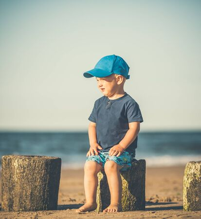 Toddler boy walking on a sunny beach. Little child walking on sand. Beautiful inspirational beach and ocean view, landscape.