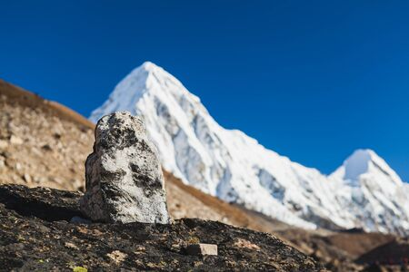 Rocks and stones on the way to Pumo Ri mountain in Himalayas, Nepal.