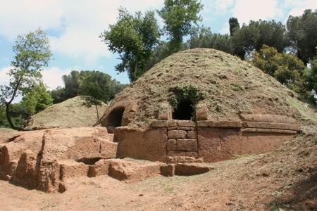 tombs of etruscan necropolis near cerveteri, italy