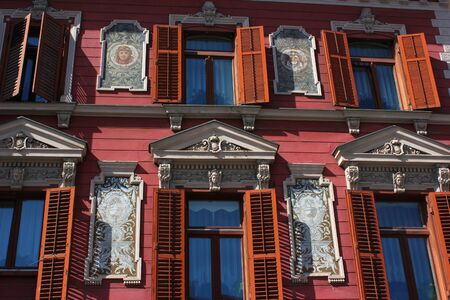 painted and stucco decorated facade - main square, Maribor, Slovenia, European Capital of Culture 2012