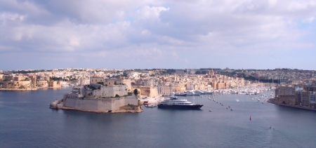 grand harbour with city fortress and yacht marine  - Valetta, Malta Stock Photo