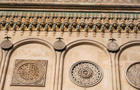 ornaments on facade of cathedral in Curtea de Arges, Romania