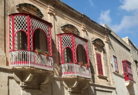 red and white balconies, Malta, Europe