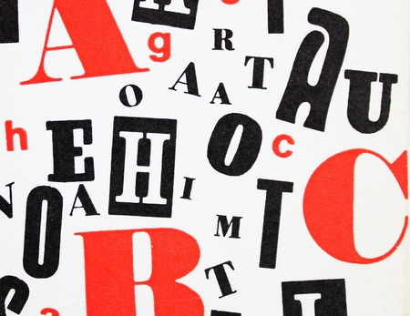 mix of different red, black and white letters