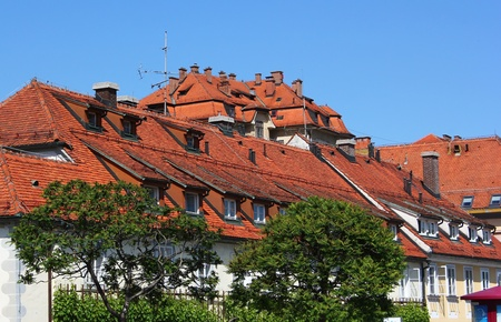 greenery and red roofs of the town center of Maribor, Slovenia