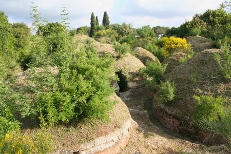 etrurian: green etruscan necropolis near Cerveteri, Italy Stock Photo