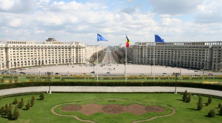 the statesman: view from romanian parliament palace, Bucharest