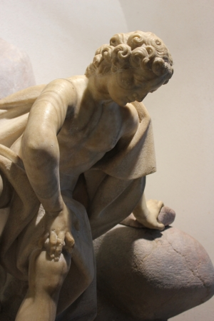 narcissism: marble sculpture of Narcissus, created by venetian baroque sculptor Franceso Robba - Ljubljana city hall, Slovenia