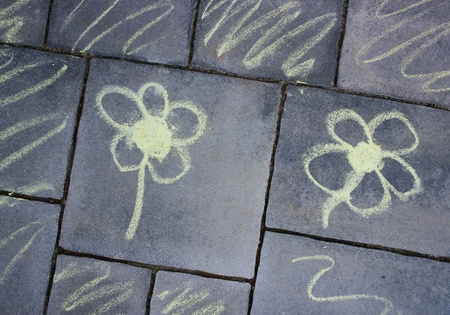 chalk drawing of flowers on grey background - rotated  Stock Photo