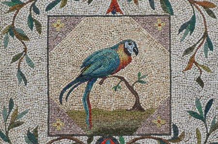mosaic of parrot on the walls of the nympheum of the Casina Pio IV, Vatican gardens, Vatican City, Europe