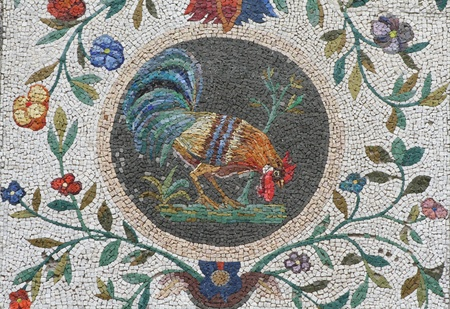 mosaic of cock on the walls of the Nympheum of the Casina Pio IV, Vatican gardens, Vatican City, Europe