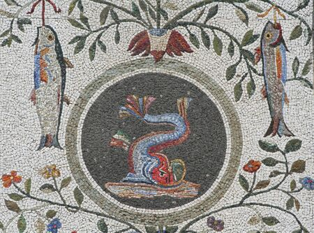 pio: ornamental mosaic of fishes - Nympheum of the Casina Pio IV, Vatican gardens, Vatican City, Europe