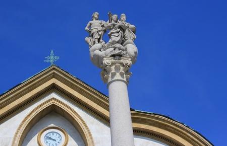 Holly Trinity sculpture and church architecture, Congress square, Ljubljana, Slovenia photo
