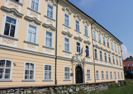 Baroque facade of Gruber Palace in Ljubljana, Slovenia