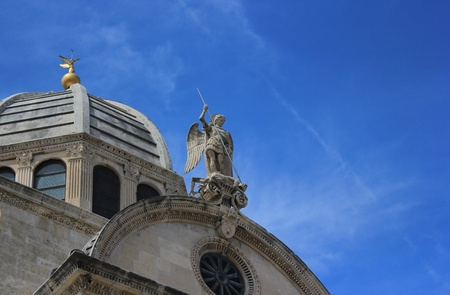 Dome and sculpture of saint Michael of the Sibenik Cathedrale