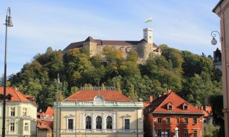 Philharmonic Hall and castle of Ljubljana, Congress square, Ljubljana, Slovenia