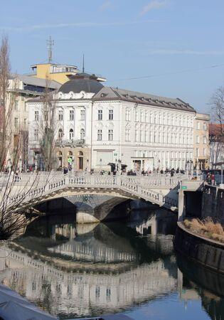 Centre of the city of Ljubljana with Ljubljanica river and the Three Bridges - architecture of Jozef Plecnik, Ljubljana, Slovenia
