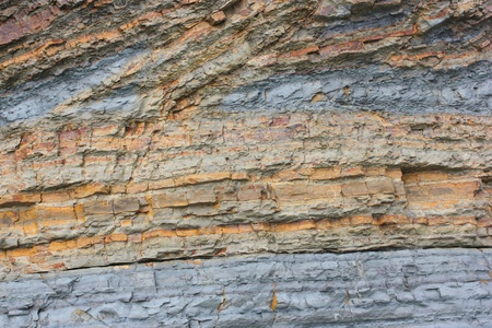 Colorful flysch cliff rocks, Izola, Slovenia