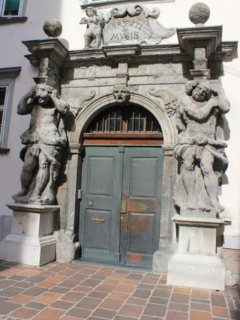 Baroque portal of the Seminary Palace Library, Ljubljana, Slovenia