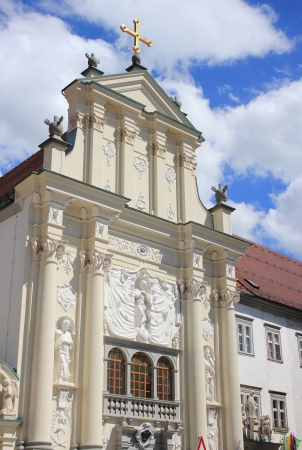 Richly decorated facade of the Minorite monastery church, Ptuj, Slovenia, Europe