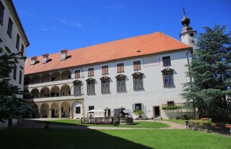 regional: Ptuj patio del castillo, edificio del Museo Regional, Eslovenia, Europa