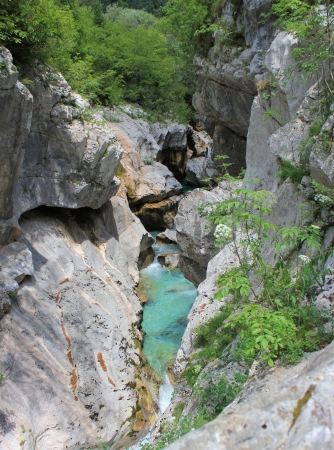 Evorsion channel of Soca river, Triglav National Park, Julian Alps, Slovenia photo