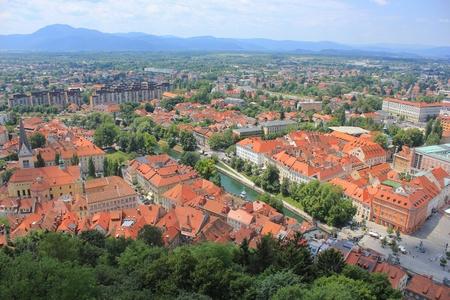 Ljubljana center and Ljubljanica river - view from the castle, Ljubljana center and Vic area, Slovenia, Slovenia