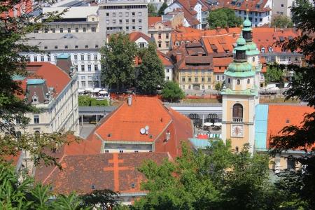 central market: Ljubljana historic center - Saint Nicholas cathedral and Central Market area, Slovenia Stock Photo
