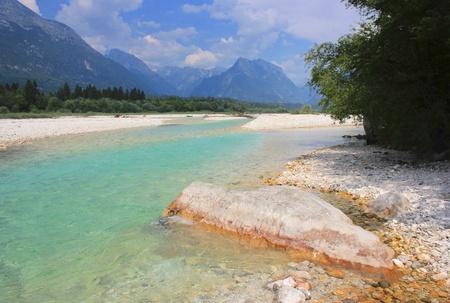 Soca river and Julian Alps, Bovec, Slovenia photo