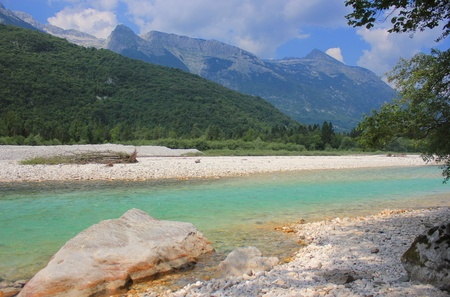 Soca river landscape, Bovec, Julian Alps, Slovenia photo