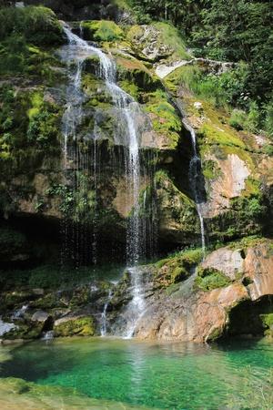 Virje waterfall, Bovec, Kanin mountains, Julian Alps, Slovenia Stock Photo