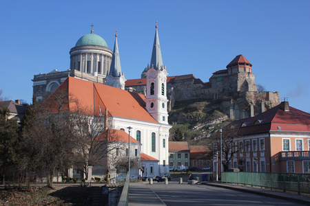 Esztergom cityscape with parish church and the castle with Basilica in the background, Hungary