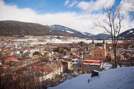 Panorama of Bruneck town in winter, Pustertal, South Tyrol, Italy