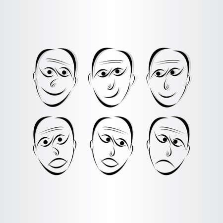 caras emociones: los hombres se enfrenta a emociones s�mbolos elementos de dise�o abstracto Vectores