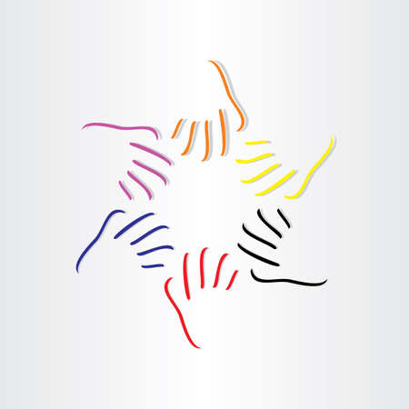 human hands all races abstract icon design Vector