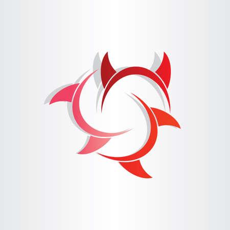 devil horns abstract symbol icon design element Vector