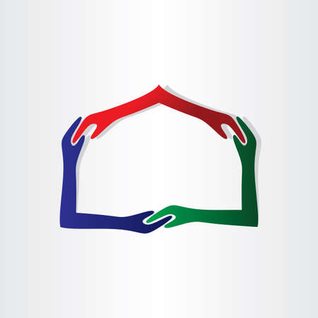human hands house friendship real estate icon Vector
