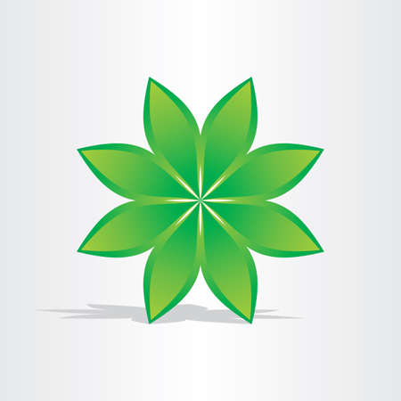 fortunate: green flower abstract design element stylized icon