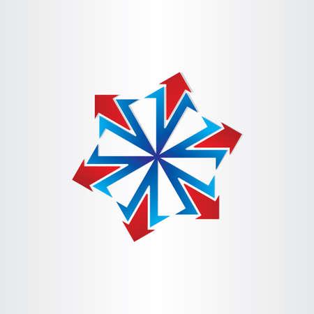 blue arrows spread out icon design element